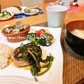 ワンプレートの晩ごはん~ハンバーグ&豚肉の味噌漬け焼き~