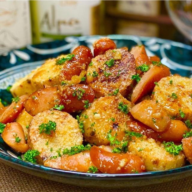 【レシピ】長芋とウインナーのガリバタめんつゆ炒め