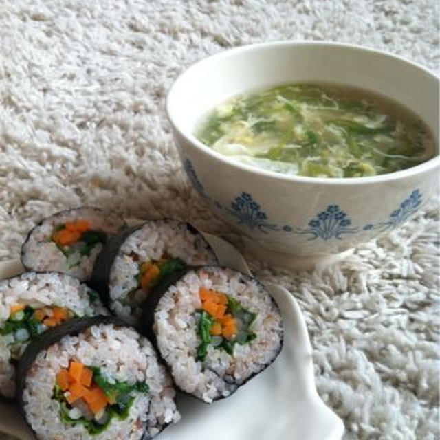 とろとろ卵スープ/雑穀巻き寿司