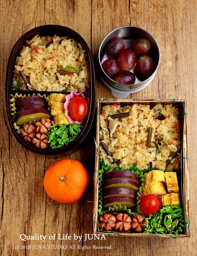 【今日のおべんと】山菜ごはん弁当(夫のは竹皮弁当箱で)