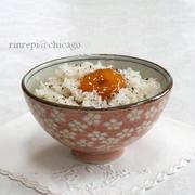 大葉にんにく醤油漬け卵黄のっけご飯
