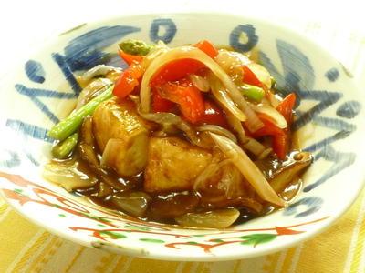 豆腐ステーキ夏野菜たっぷりの黒酢餡かけ