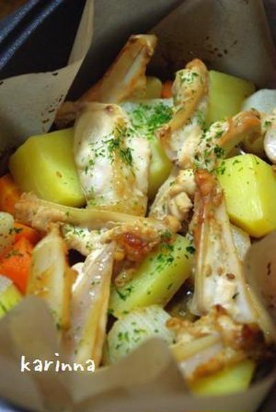 ダッチオーブンde鶏軟骨&根菜焼き