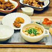 【節約献立】食べたいものを食べる日!カリッとジューシー唐揚げと麻婆豆腐メインの献立