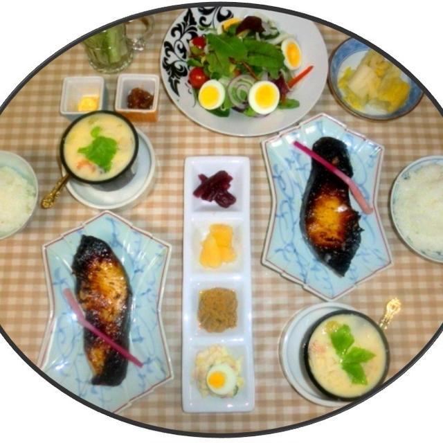 今夜は、好物銀鱈の自家製西京漬けで