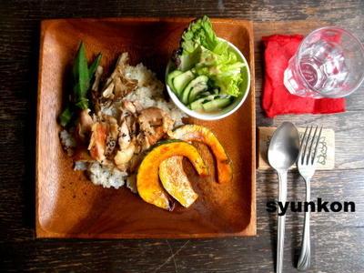【簡単!カフェごはん】鶏肉のガーリックゆずこしょう焼き乗せバターライスでワンプレート