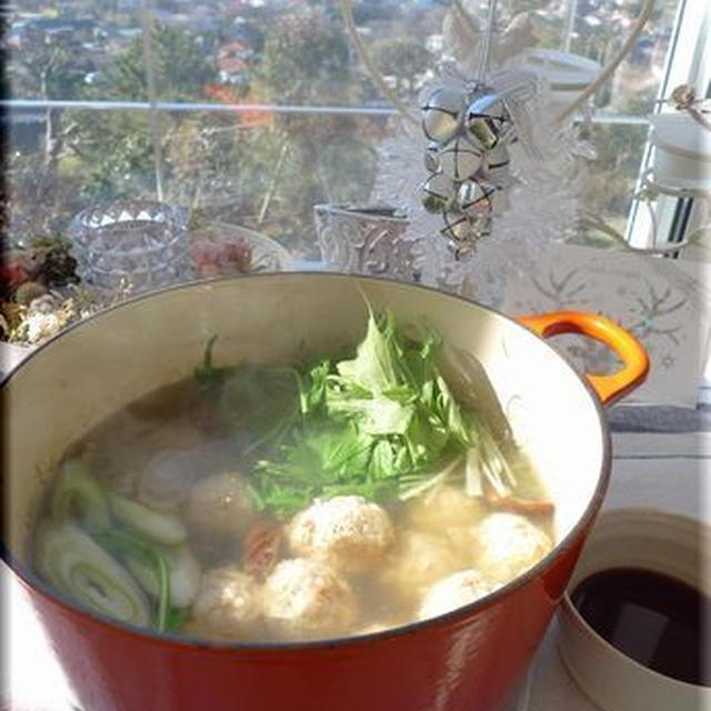 牛蒡とナンコツ入りの鶏団子鍋