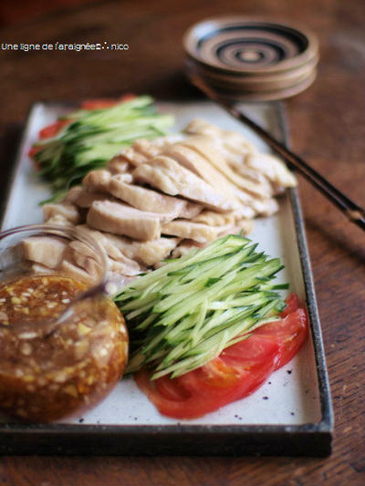 茹で鶏・搾菜ソース。