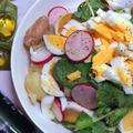 #078 新じゃがいもとクレソンの温かいサラダ『ソーセージを加えて温製に仕立てます』