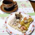<マグロのたたきを使ったツナマヨサンド♪>と<魚介とカレー味の卵のピザサンド♪>