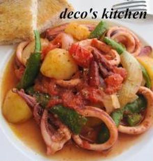 イカとたっぷり野菜の、アラビアータ風煮込み。
