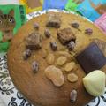 西表島を楽しむ♡西表島の黒糖と肉球甘納豆とチョコトッピングの抹茶スポンジケーキ♪