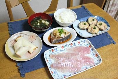 焼きぶりのおろしポン酢がけと椎茸のチーズ焼きとアボカドベーコン春巻きでうちごはん(レシピ付)