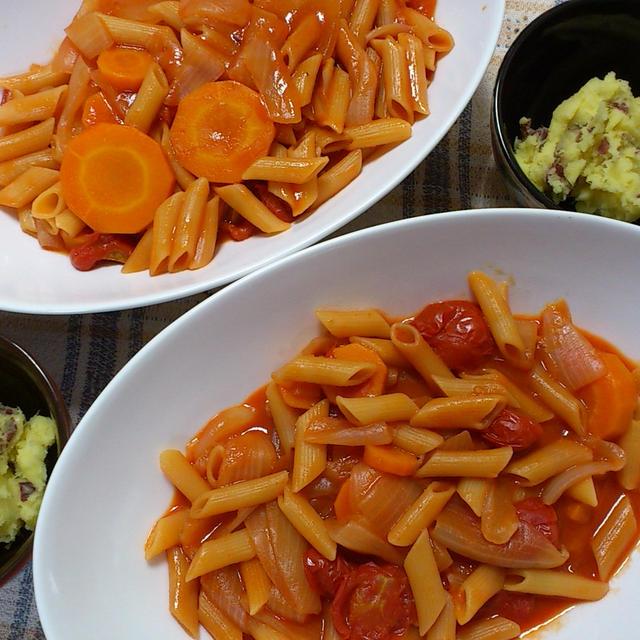炊飯器調理:野菜ジュースのパスタ