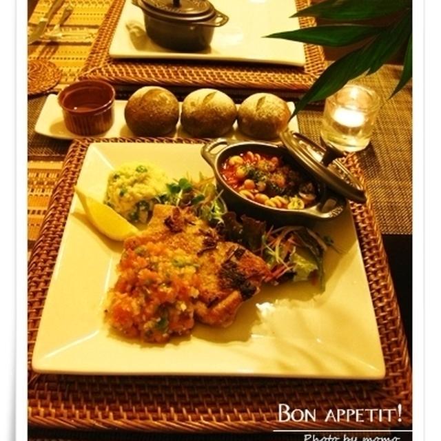 チョリソーと豆、野菜のスパイシースープ他、メキシカン風ディナー(レシピ付き)