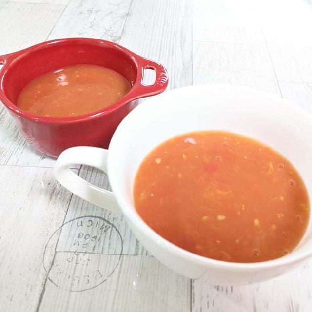 【腐りかけたトマトの救出!冷たいトマトのスープ】すももも加えてみたよ。