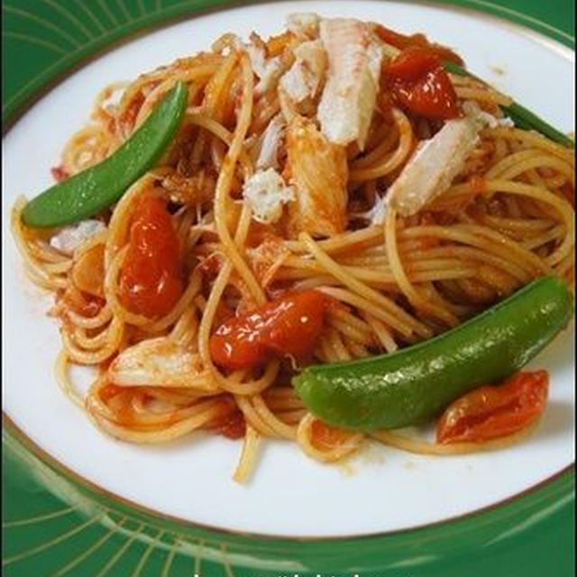 毛ガニのトマトパスタ。<ケチャップ味の簡単レシピ>