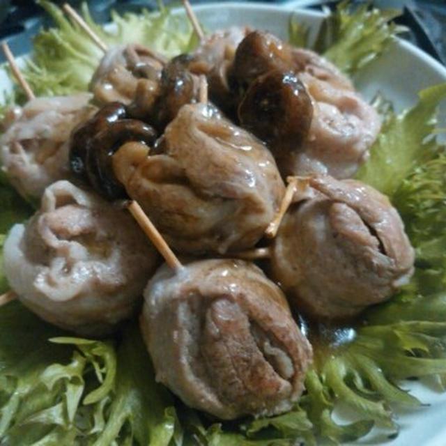 福島のエゴマ豚バラ肉で『マッシュ巻き』♪