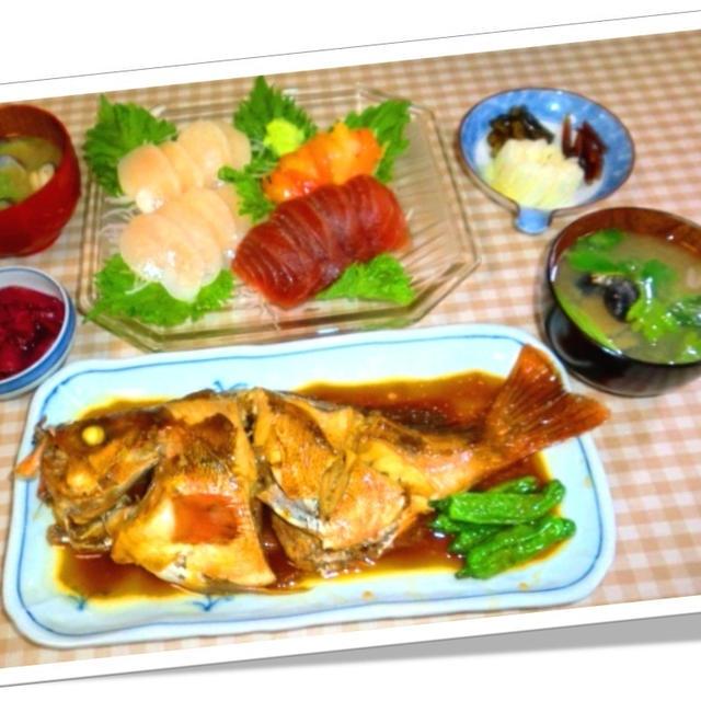 煮魚と刺し盛りの晩ご飯