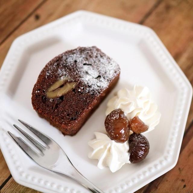 栗とチョコチップのココアパウンドケーキ☆混ぜていって焼くだけ簡単ケーキ