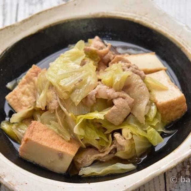 圧力鍋で作る|厚揚げと豚肉とキャベツのうま煮|豚肉やわらか仕上げ