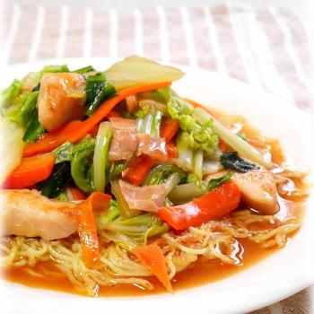 白菜と鶏胸肉の中華風あんかけ焼きそば