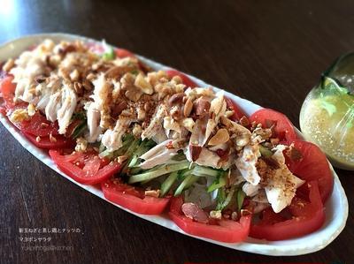 新玉ねぎと蒸し鶏とナッツのマヨぽんサラダ 玉ねぎ血液サラサラのための食べ方。