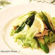 【Recipe】春キャベツとアスパラのレモン醤油炒め。