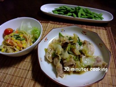 キャベツの豚肉の味噌炒めとスパゲッティーサラダ