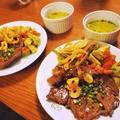 お醤油ステーキとお野菜おかずで、糖質制限中のワンプレートランチ