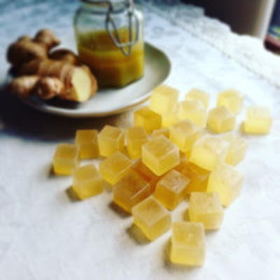 体ぽかぽかジンジャーシロップの琥珀糖レシピ ~ アーモンドミルクのチャイのおともに♪