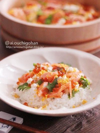 我が家のひな祭り*鮭といくらのミモザ風親子ちらし寿司♡お花見にもおすすめ♡