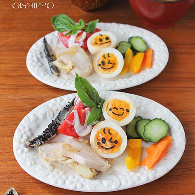 自家製鶏ハムとニコニコ玉子で朝ご飯