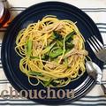 豚肉と小松菜のゆず胡椒パスタ-簡単*節約*スピード料理