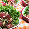 マグロと水菜の麺つゆ生姜・サラダ仕立