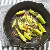 切って焼くだけ、オクラと桜海老の、花椒味オーブン焼き