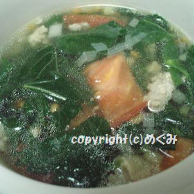 モロヘイヤとひき肉のスープ