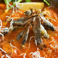 ■創味シャンタンDXモニター料理【小鯵と緑豆春雨唐揚げの トマトシャンタン甘酢餡かけスープ鍋】