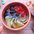 レンジで簡単椎茸とプチトマトと玉ねぎのアヒージョ