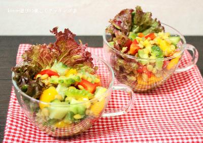 ハニーレモンドレッシングdeレンズ豆と夏野菜のサラダ