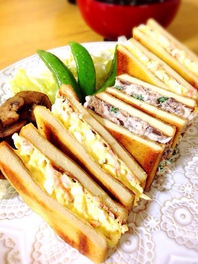 高野豆腐のサンドイッチ。卵+桜海老となまり+パセリ。