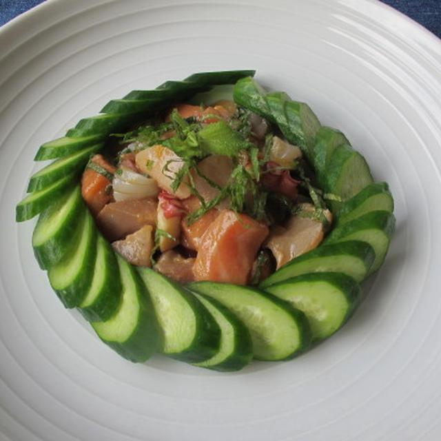 和風セヴィチェ & 茄子と油揚げの煮物  6・9・2012