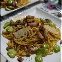 ナツメグ香る 筍と空豆のカルボナーラ