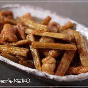 【ごぼうのレシピ】鶏肉とごぼうの甘辛にんにく醤油炒め、ごぼうとちくわの塩バターきんぴら