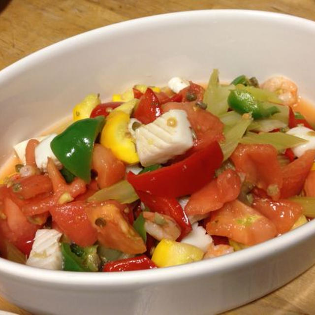 夏野菜と魚介のサラダ☆☆☆