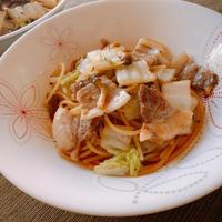 【牡蠣だし醤油が活躍する毎日のおいしい食卓】豚バラと白菜の和風パスタ