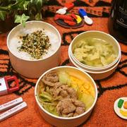 「野菜炒め&玉子スープ弁当」deゆーたんのランチ