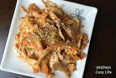 【今日の一品】キムチ×舞茸×卵の炒め物