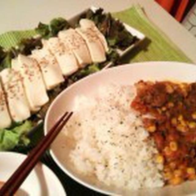 晩ごはん:ハヤシライスと豆腐サラダ。