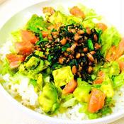 納豆と春菊のスタミナ炒めでヘルシータコライス